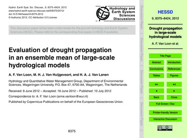 Evaluation of Drought Propagation in an ... by Van Loon, A. F.