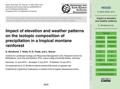 Impact of Elevation and Weather Patterns... by Windhorst, D.