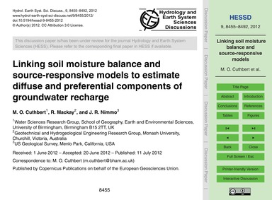 Linking Soil Moisture Balance and Source... by Cuthbert, M. O.
