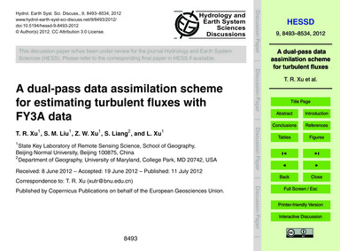 A Dual-pass Data Assimilation Scheme for... by Xu, T. R.