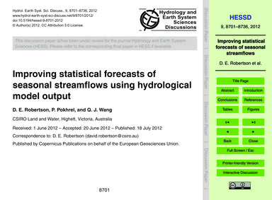 Improving Statistical Forecasts of Seaso... by Robertson, D. E.