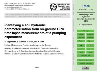 Identifying a Soil Hydraulic Parameteris... by Dagenbach, A.