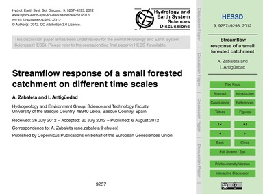 Streamflow Response of a Small Forested ... by Zabaleta, A.
