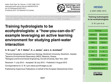 Training Hydrologists to Be Ecohydrologi... by Lyon, S. W.
