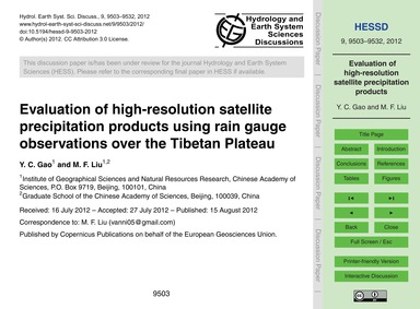 Evaluation of High-resolution Satellite ... by Gao, Y. C.