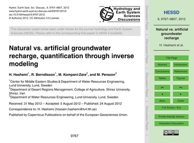 Natural Vs. Artificial Groundwater Recha... by Hashemi, H.