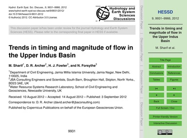 Trends in Timing and Magnitude of Flow i... by Sharif, M.
