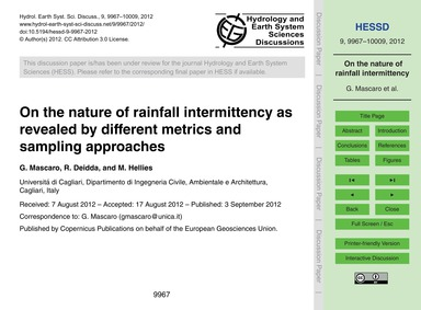 On the Nature of Rainfall Intermittency ... by Mascaro, G.
