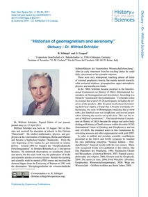 Historian of Geomagnetism and Aeronomy O... by Schlegel, K.