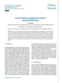 A Short History of Geophysical Radar at ... by Mathews, J. D.