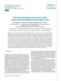 The First Aeromagnetic Survey in the Arc... by Raspopov, O. M.