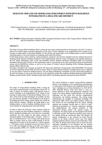 Semantic Bim and Gis Modelling for Energ... by Sebastian, R.