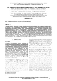 On the Evaluation of Photogrammetric Met... by Toschi, I.