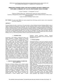 Hbim for Conservation and Management of ... by Oreni, D.