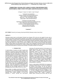 Terrestrial Radar and Laser Scanning for... by Wujanz, D.