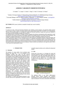 Aerosol Variability Observed with Rpas :... by Altstädter, B.