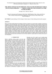 The Application of Gis 3D Modeling and A... by Zhang, H.