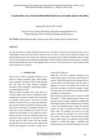 Validation Analysis of Openstreetmap Dat... by Zhou, P.