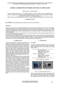 Camera Calibration in 3D Modelling for U... by Yanagi, H.
