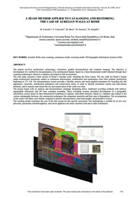 A 3D Gis Method Applied to Cataloging an... by Canciani, M.