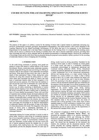 Course Outline for a SCUBA Diving Specia... by Papadimitriou, K.