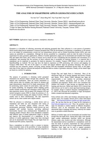 The Analysis of Smartphone Apps in Geoma... by Teo, T.-a.