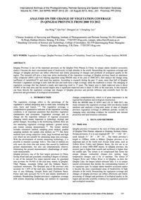 Analysis on the Change of Vegetation Cov... by Wang, J.
