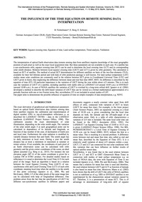 The Iinfluence of the Time Equation on R... by Fichtelmann, B.