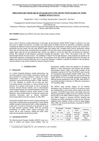 Preliminary Research on Radiance Fog Det... by Wen, X.