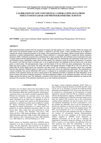 Calibration of Low Cost Digital Camera U... by Mitishita, E.