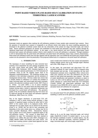 Point-based Versus Plane-based Self-cali... by Chow, J. C. K.