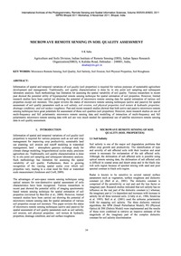 Microwave Remote Sensing in Soil Quality... by Saha, S. K.