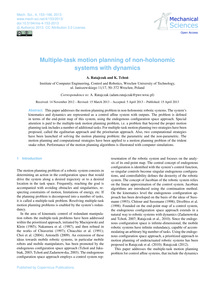 Multiple-task Motion Planning of Non-hol... by Ratajczak, A.