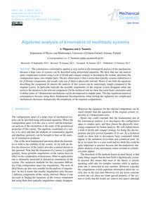 Algebraic Analysis of Kinematics of Mult... by Piipponen, S.