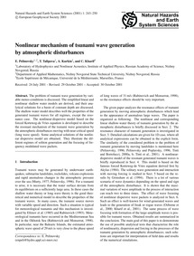Nonlinear Mechanism of Tsunami Wave Gene... by Pelinovsky, E.