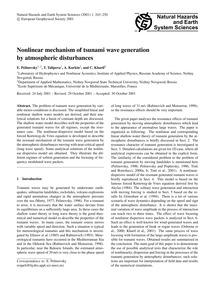Nonlinear Mechanism of Tsunami Wave Gene... by Pelinovsky, E.