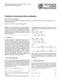 Nonlinear Tsunami Generation Mechanism :... by Nosov, M. A.