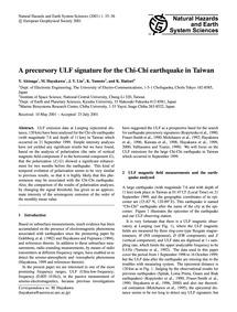 A Precursory Ulf Signature for the Chi-c... by Akinaga, Y.