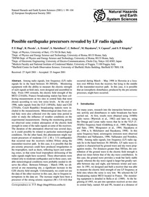 Possible Earthquake Precursors Revealed ... by Biagi, P. F.