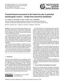 Tsunami Hazard Assessment in the Ionian ... by Tselentis, G-a.