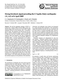 Strong Foreshock Signal Preceding the L'... by Papadopoulos, G. A.