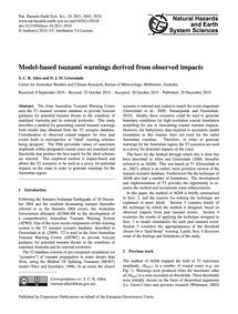 Model-based Tsunami Warnings Derived fro... by Allen, S. C. R.