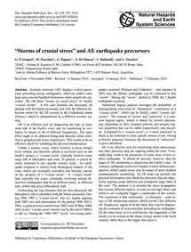 Storms of Crustal Stress and Ae Earthqua... by Gregori, G. P.