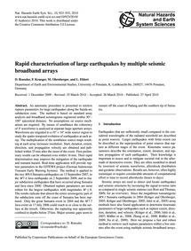 Rapid Characterisation of Large Earthqua... by Roessler, D.