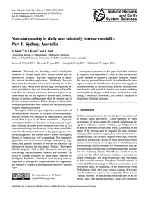 Non-stationarity in Daily and Sub-daily ... by Jakob, D.