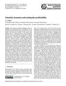 Seismicity Dynamics and Earthquake Predi... by Sobolev, G. A.