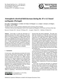 Atmospheric Electrical Field Decrease Du... by Silva, H. G.