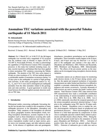 Anomalous Tec Variations Associated with... by Akhoondzadeh, M.