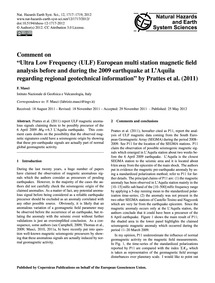 Comment on  Ultra Low Frequency (Ulf) Eu... by Masci, F.