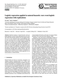 Logistic Regression Applied to Natural H... by Guns, M.